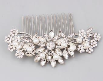 Bridal Hair Comb, Wedding Hair Piece, Bridesmaid Gift, Bridal Shower Gift, Wedding Jewelry, Floral Hair Accessories