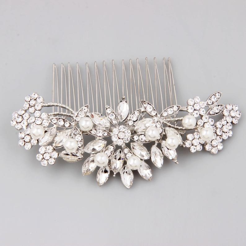 Bridal Hair Comb Silver Bridal Hair Piece Pearl Hair Comb image 0