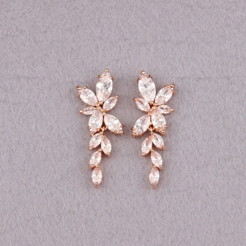 Crystal Bridal Earrings Rose Gold Bridesmaid Gift Leaf Cz Earrings For Wedding Jewelry Bridesmaid Gift Rose Gold Wedding Earrings