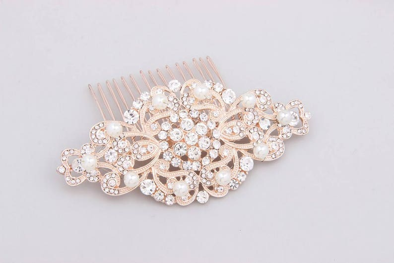 Bridal Hair Comb Rose Gold Crystal Bridal Headpieces Art Deco Pearl Bridal Comb Wedding Hair Comb Wedding Hair Accessories Rose Gold