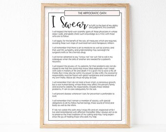 Hippocratic Oath, Medical Art Print, Gift For Doctor, Office Decor, Medical Poster, Medical Student Graduation Gift, Printable Medical Quote