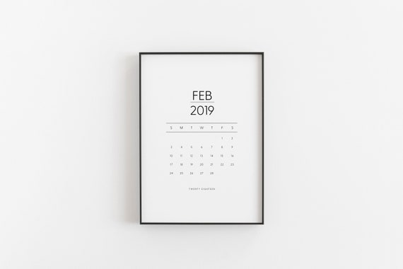 2019 Monthly Portrait Calendar Monday Start Calendar Etsy