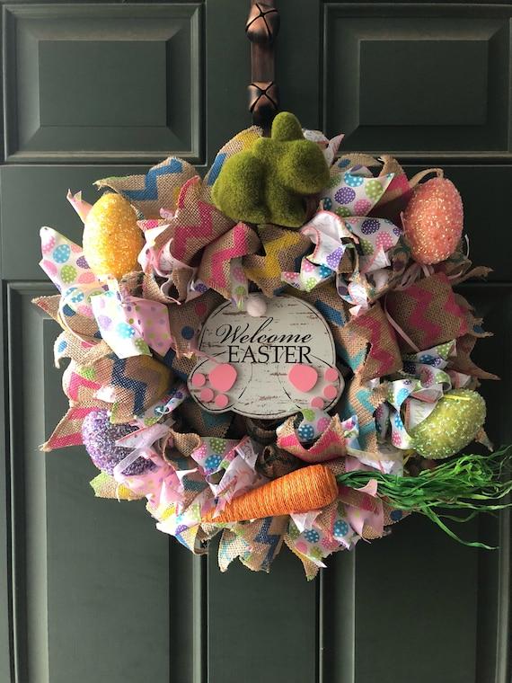 "Primitive Easter Happy Spring Burlap Ribbon Banner Ornament Garland New 4/"" x 16/"""