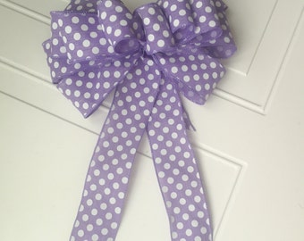 Purple Bow Lavender Polka Dot Bow Spring Bow Stunning Wreath Bow Decoration Chair Bow Shower Bow Bridal Shower Bow Wedding Chair