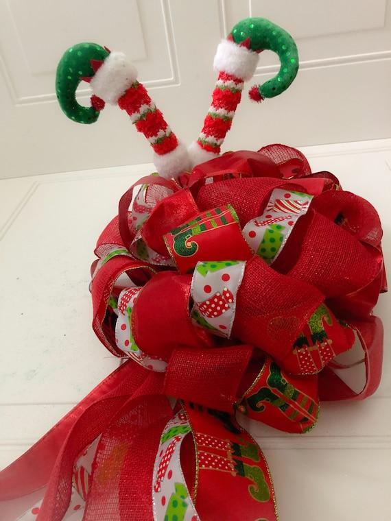 Christmas Tree Bow.Christmas Tree Bow Topper Elf Bow Elf Legs Tree Topper Elf Legs Gift Bow Extra Large Bow Topper Tree Bow Christmas Bow