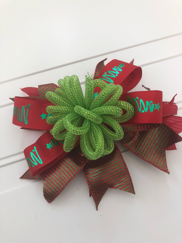 Weihnachten Geschenk Bogen, rot und grün Urlaub Bogen, große Geschenk-Schleife, Weihnachtsdekoration, Glitter-Urlaub-Schleife, Schleife für ...