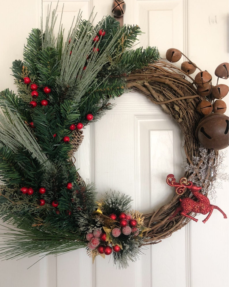 Rustic Christmas Wreath 25 Grapevine Reindeer Christmas Wreath Christmas Decor Door Wreath Jingle Bells Christmas Holiday Dec