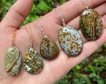 natural healing crystal ocean jasper necklace Unique natural ocean jasper pendant necklace with adjustable cord