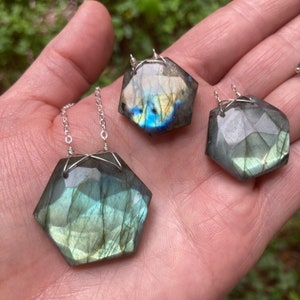 Handmade Silver Necklace 450231 Crystal Quartz Hexagon Pendant with Labradorite Beaded Sterling Chain