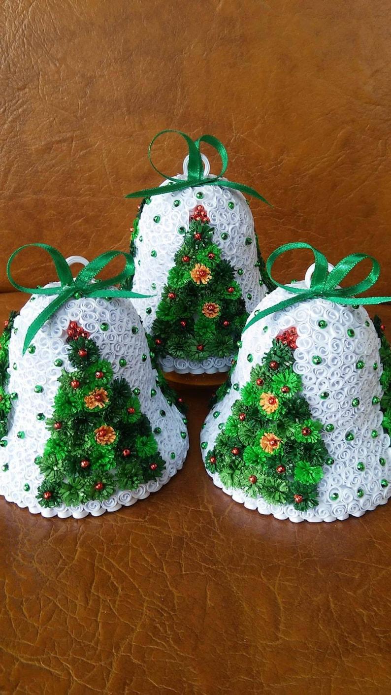 Quilling Christmas Tree Bells Handmade Set Of 4 Etsy