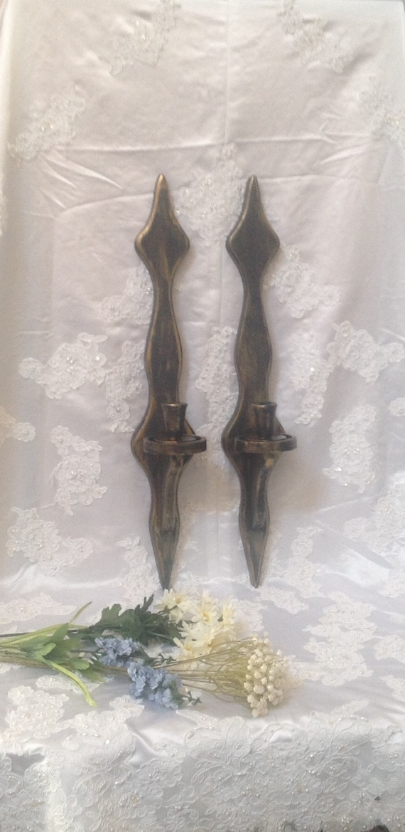huge discount 7520a bebf2 Tall Wall Hanging Candle Sconces Ornate Handpainted Black Bronze Vintage  Gothic Wooden Wall Sconces Set Candleholders