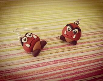 Pair of angry Mario Bros Nintendo fimo Earrings Angry Mushroom Mario Bros mushroom earrings polymer clay