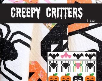 PDF Halloween Quilt Pattern - Creepy Critters