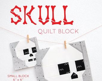 PDF Halloween Quilt Pattern - Skull quilt pattern