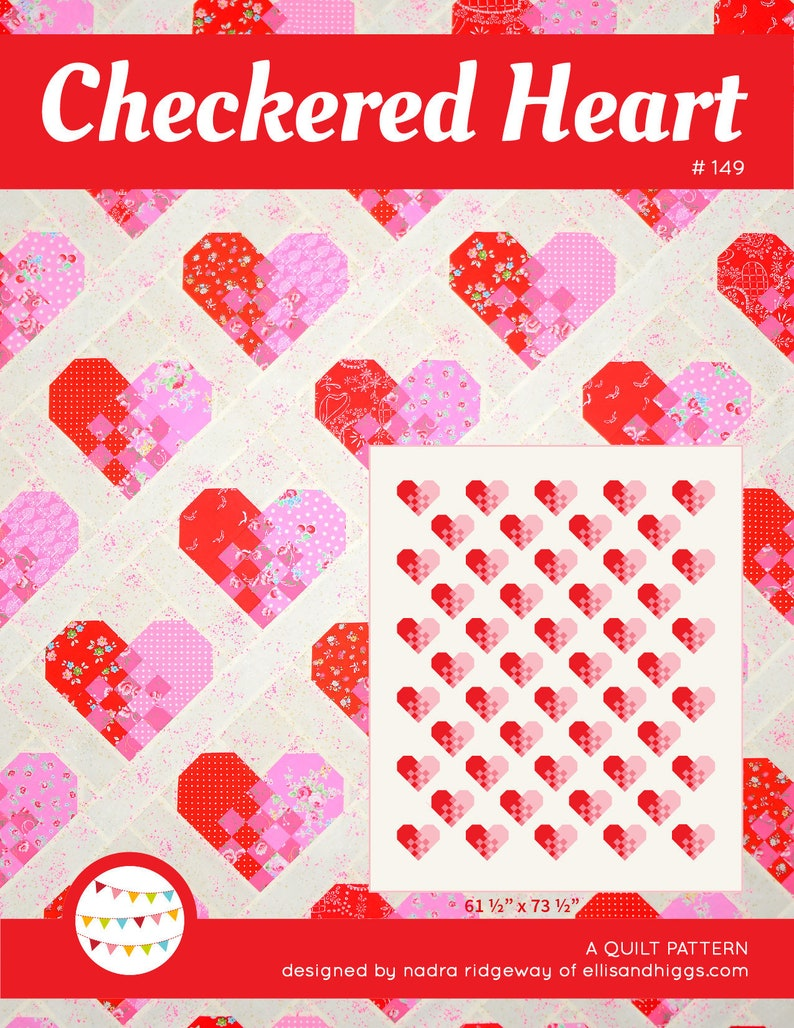 PDF Heart Quilt Pattern  Checkered Heart Quilt image 0