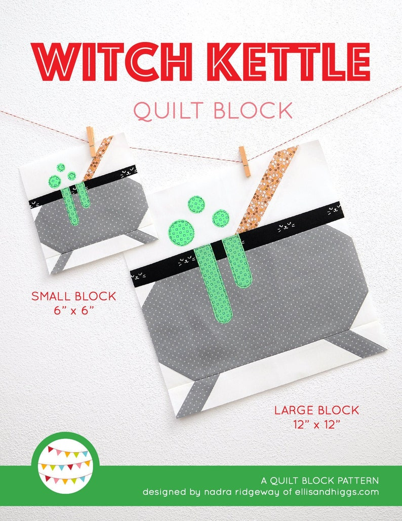 PDF Halloween Quilt Pattern  Witch Kettle quilt pattern image 0
