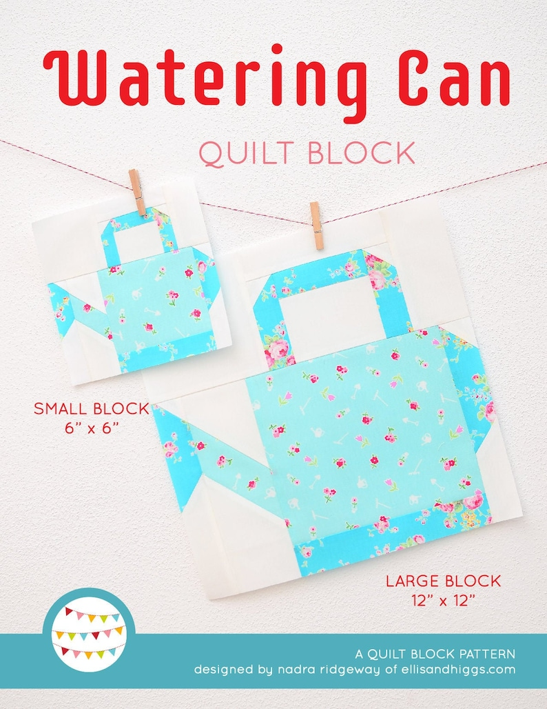 PDF Spring Quilt Pattern  Watering Can quilt pattern image 0