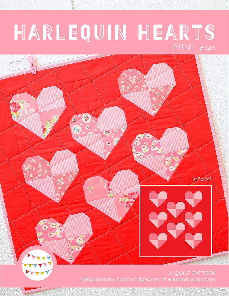 PDF Heart Quilt Pattern  Harlequin Hearts  Mini Quilt image 0