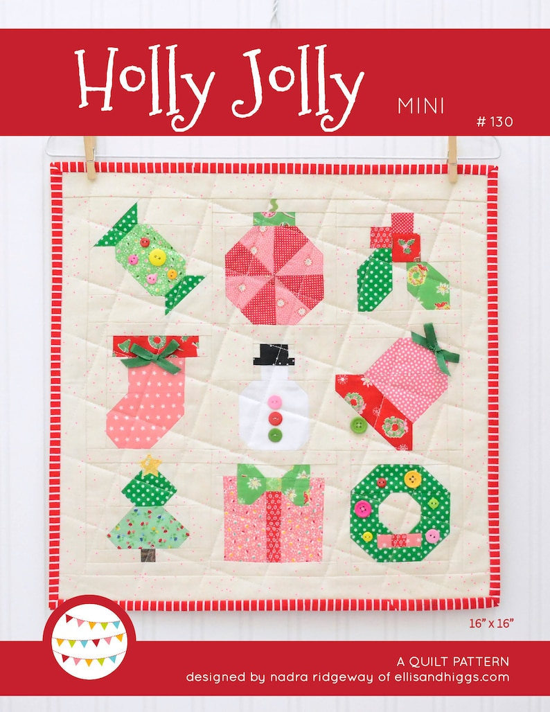 PDF Christmas Quilt Pattern  Holly Jolly Mini Sampler Quilt image 0