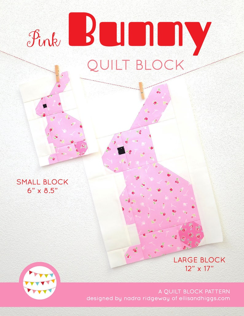 PDF Spring Quilt Pattern  Pink Bunny quilt pattern image 0