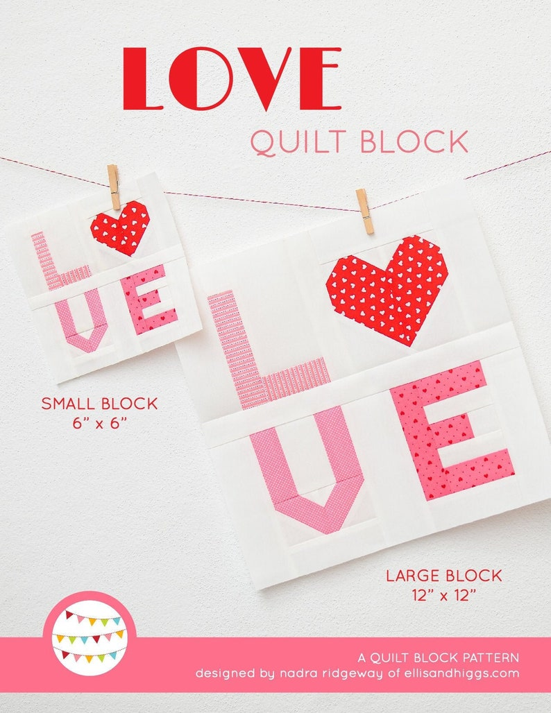 PDF Heart Quilt Pattern  LOVE Sign quilt pattern image 0