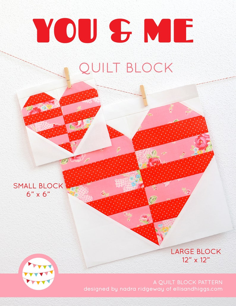 PDF Heart Quilt Pattern  You & Me image 0
