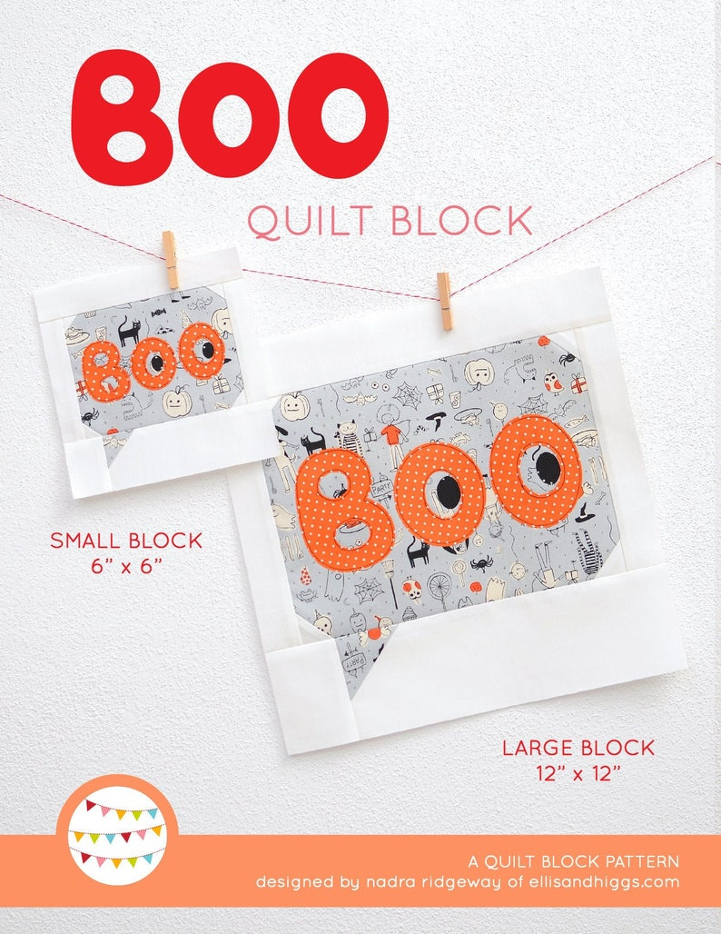 PDF Halloween Quilt Pattern  Boo quilt pattern image 0