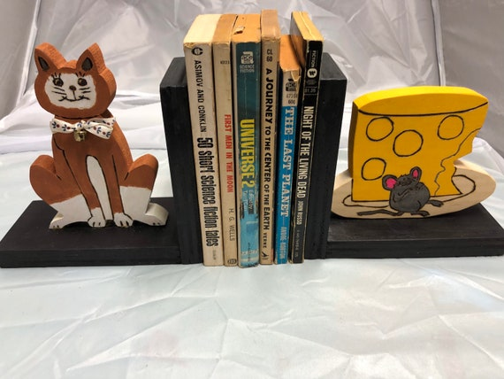 Wooden Bookend That Shows A Cat And A Cheese Stuffed Mouse Etsy