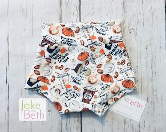 Pumpkin spice bummies, baby shorts, toddler shorts, summer shorts, girls bummy shorts, latte, pumpkin, psl