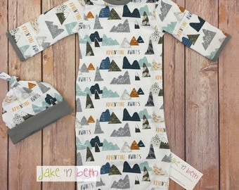 Baby gown set, newborn set, neutral, baby outfit, baby shower gift, mountain adventure