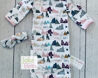 Baby gown set, baby girl set, newborn outfit, take home outfit, baby shower gift, mountains
