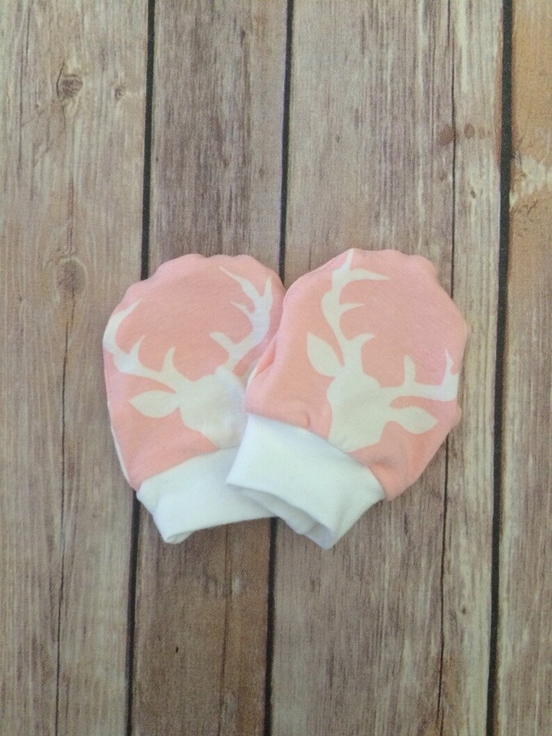 Deer baby knot hat bucks head pink newborn set and no scratch mittens