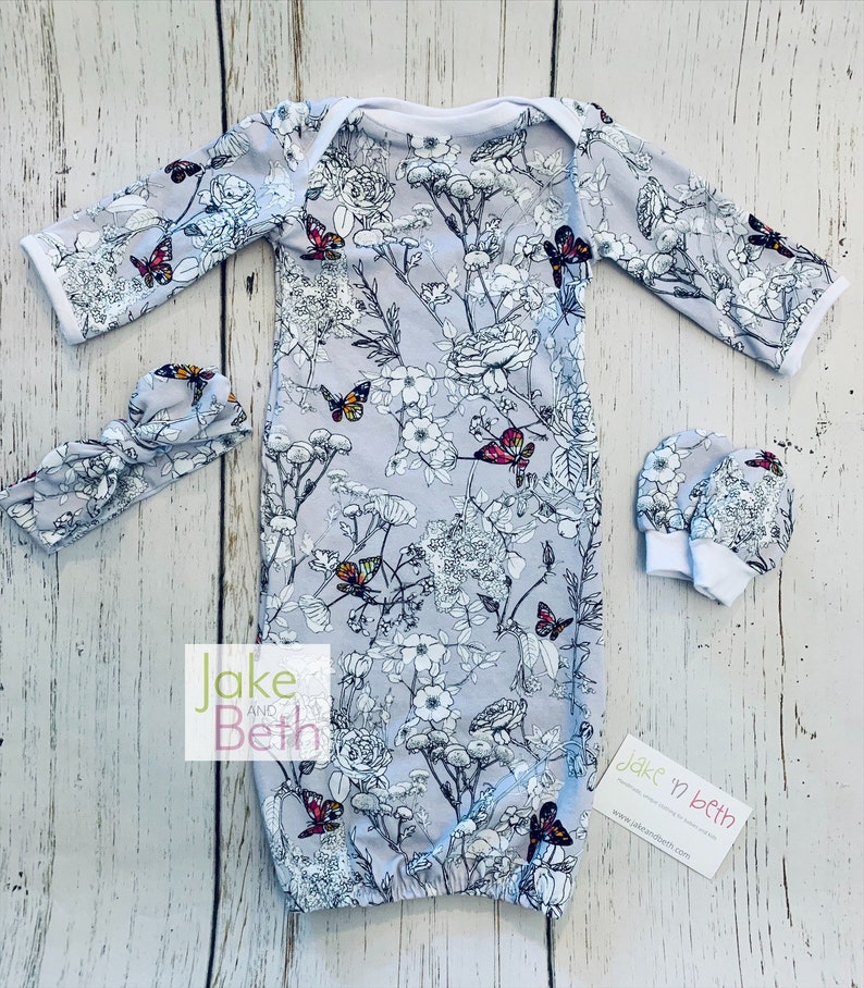 Baby gown and no scratch mittens knot hat baby shower gift take home outfit baby girl set pale lavender floral newborn outfit