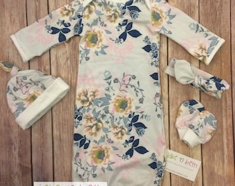 Baby gown, baby girl set, newborn outfit, take home outfit, baby shower gift, pale gray floral