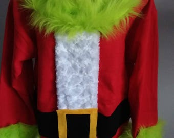 the grinch ugly christmas sweater size medium large xlarge fast shipping ugly christmas sweater party winner santa grinch with fur - Grinch Ugly Christmas Sweater