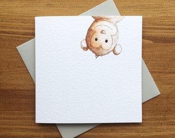 Monkey card etsy cheeky monkey hello greeting card hand drawn art animal card cute card childrens cards blank card monkey card m4hsunfo