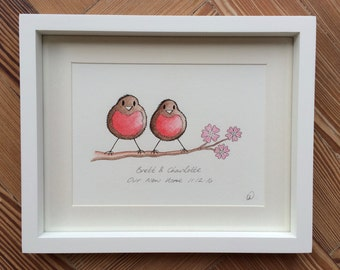 Personalised Family of Robins with blossom. Adorable hand drawn, painted and personalised. Perfect for New baby, Birthdays or Christening