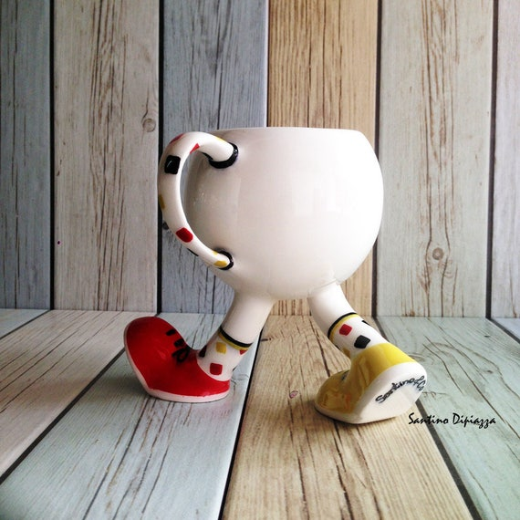 Walking Pottery Tea Cup, Coffee Mug On Legs, Funny Gifts, White Ceramic, Quirky Running Cup, Cute Design, Whimsical Ware, Multi Coloured