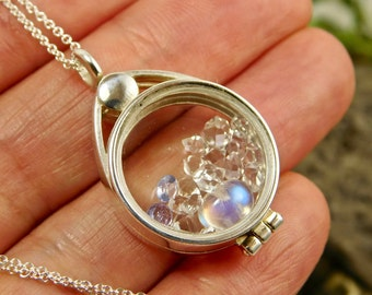Tanzanite Crystal Tourmaline Crystals Facets in Sterling Silver Floating Locket Pendant Necklace
