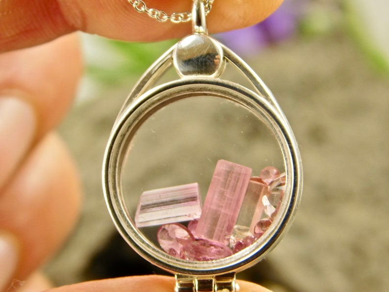Pink Tourmaline Crystal Locket Pendant Necklace Pink Faceted Natural Terminated in a Sterling Silver Floating Glass Locket Pendant