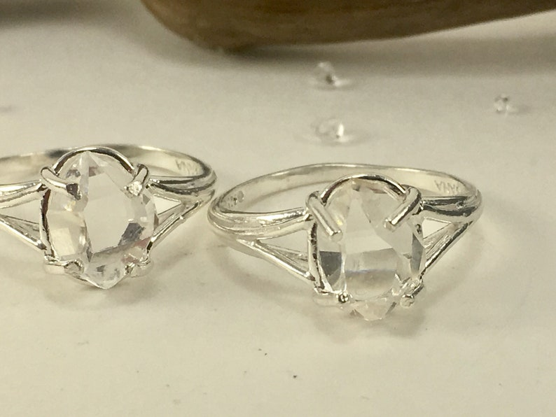 Natural Double Terminated Clear Yoga Meditation Healing Gift Herkimer Diamond Ring AAA Grade NY Crystal Sterling Size 7 Ring