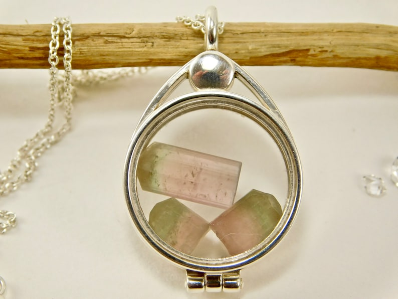 Bi Color Tourmaline Crystals pink with Green Caps in Sterling Silver Floating Locket Pendant Necklace Natural Uncut Tourmaline Afganistan