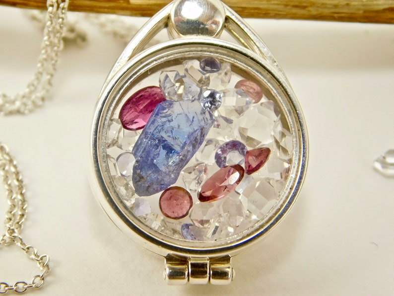 Tanzanite Crystal Tourmaline Herkimer Diamond Crystals in Sterling Silver Floating Locket Pendant Necklace