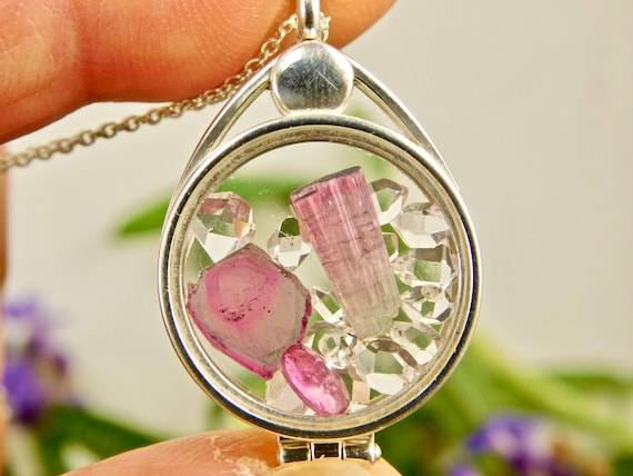 Tourmaline Watermelon Slice and Natural Tourmaline Crystals Herkimer Diamond Quartz Crystals in Sterling Silver Floating Locket Pendant