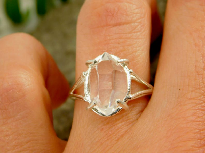 Herkimer Diamond RING Quartz Crystal Sterling Silver Size 6 Ring Natural Uncut Double Terminated Yoga Meditation Healing Crystal Necklace