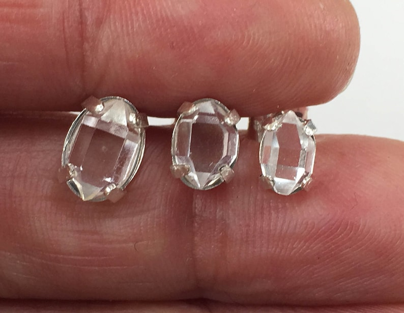 AAA Herkimer Diamond Sterling Silver Stud Earrings Natural Raw Very Clear 4x6mm or Larger Double Terminated Quartz Crystal
