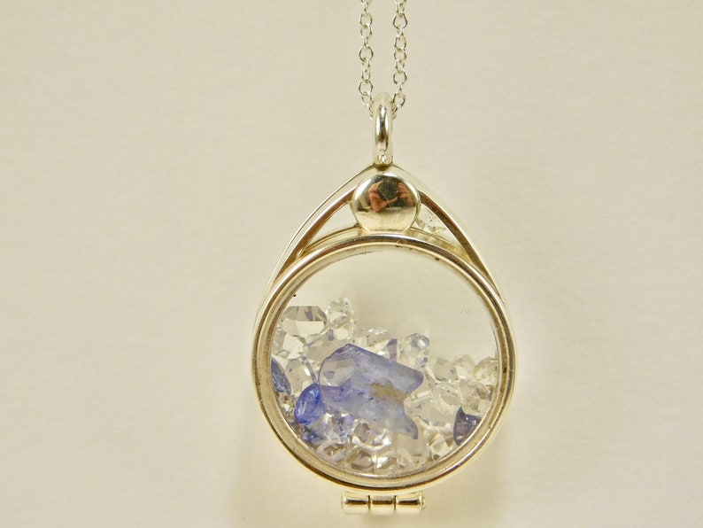 Facets Tanzanite Crystal Herkimer Diamond Quartz Crystals in a Floating Locket Sterling Silver Pendant Necklace Faceted Tanzanite