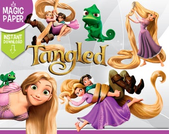 Tangled Rapunzel Clipart - Digital 300 DPI PNG Images, Photos, Scrapbook, Digital, Cliparts, Decoration- Instant Download