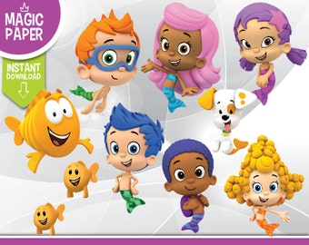 Bubble Guppies Clipart - Digital 300 DPI PNG Images, Photos, Scrapbook, Cliparts - Instant Download