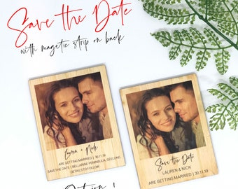 Personalised Wooden Photo Save the Date - with or without Magnet - Wedding Invitations, Rustic, Bamboo